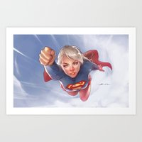 supergirl Art Prints featuring Supergirl by abraaolucas