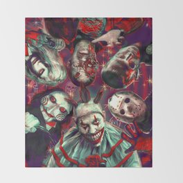 Twisty Jigsaw Jason Voorhees Terminator Psychedelic Spook Show Throw Blanket
