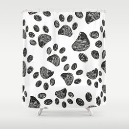 Doodle black paw prints vector with white background seamless pattern for fabric Shower Curtain