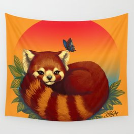 Red Panda Has Blue Butterfly Friend Wall Tapestry