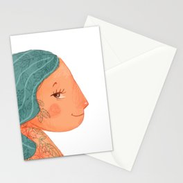 Tattooed girl with turquoise hair Stationery Cards