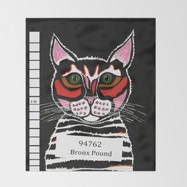 Cat Mug Shot Throw Blanket