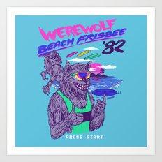 Werewolf Beach Frisbee Art Print