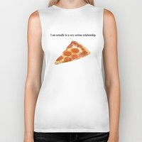 pizza Biker Tanks featuring Pizza by Wealthy Loser