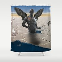 angel wings Shower Curtains featuring angel  by mark ashkenazi