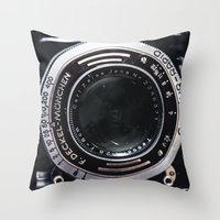 vintage camera Throw Pillows featuring Camera by Katherine Ridgley