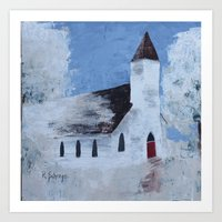 Old Country Church with Red door Art Print