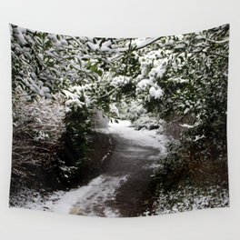 Snowy Path in The Trees Wall Tapestry