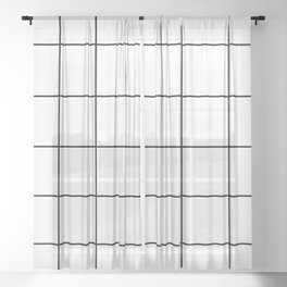black grid on white background Sheer Curtain