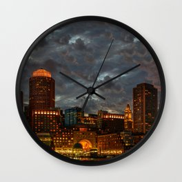 Night at Boston Harbor Wall Clock