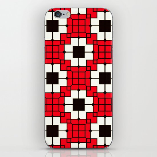 Retro Mosaic Red & Black iPhone & iPod Skin