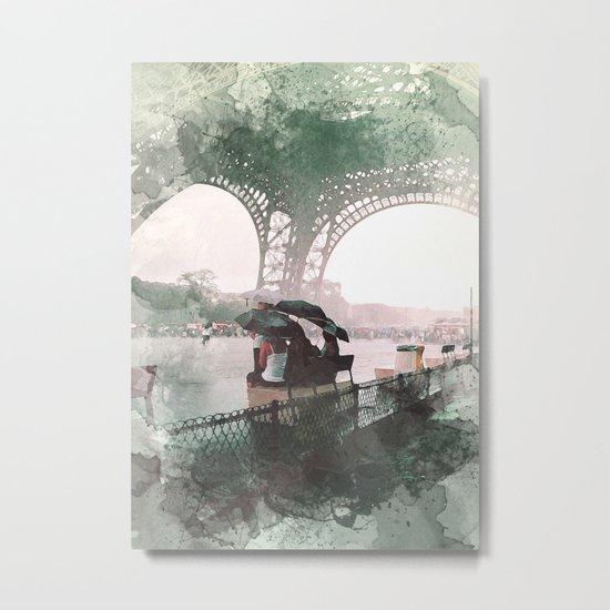 Paris Rain Metal Print