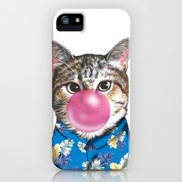 handsome cat blowing bubble gum iPhone Case