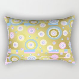 Gold, Rose, Blue, retro pattern, balls, stripes, shiny Rectangular Pillow