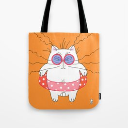 Big cat on the beach orange Tote Bag