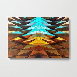 3D gradient orange and blue geometric background Metal Print