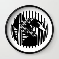 black swan Wall Clocks featuring black swan by Gray