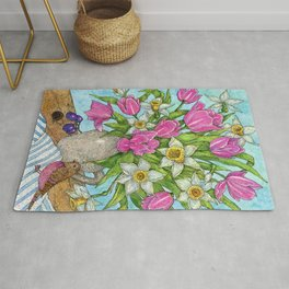 Bouquet of spring flowers of pink tulips and daffodils. Rug
