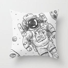 astro Traveller Retro Throw Pillow