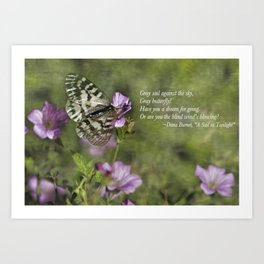 Gray Butterfly on Pink Art Print
