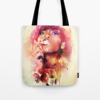 rihanna Tote Bags featuring Rihanna by turksworks