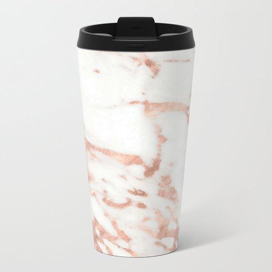 Marble - Metallic Rose Gold Marble Pattern Metal Travel Mug