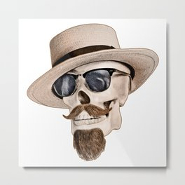 Hipster Skull Metal Print