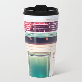 green wood building with brick building in the city Travel Mug