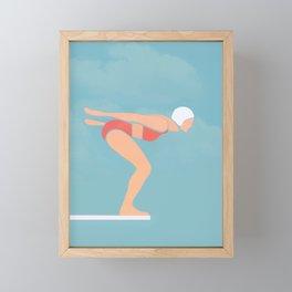 Pool Diver Framed Mini Art Print