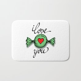 I love you (green) Bath Mat