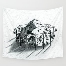 Ski Lift Merry Go 'Round Wall Tapestry
