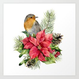 Merry Christmas. Watercolor Art Print