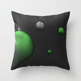 Set of green and silver christmas balls Throw Pillow