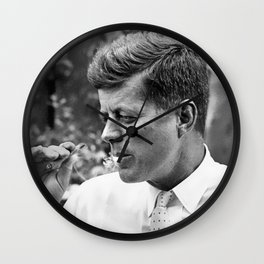 JFK smoking marijuana photo print poster John F Kennedy weed joint smoker gift cigar vintage photograph art President wall decor Wall Clock