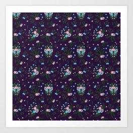 Vintage Florals - Purple Art Print