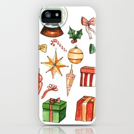 Hand drawn Christmas Holiday Ugly Sweater Office Party iPhone Case