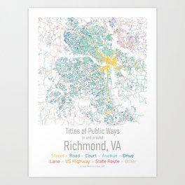 Titles of Public Ways in and arond Richmond, VA (large) Art Print