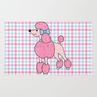 poodle Area & Throw Rugs featuring Pink Poodle by Jade Boylan
