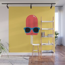 Red Ice Pop Wearing Blue Sunglasses Wall Mural