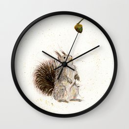 Nutty Squirrel - animal watercolor painting Wall Clock