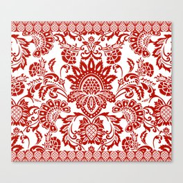 Damask in red Canvas Print