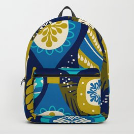 Festive navy blue white yellow abstract Christmas decorations Backpack