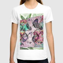 Butterflies, Double Face Silhouette Tile  T-shirt