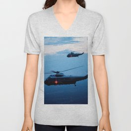Support Helicopters Fly at Dusk Unisex V-Neck