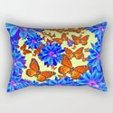 Orange Butterflies Blue  Floral Wreath art by sharlesart