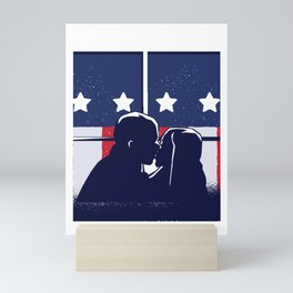 Kiss in front of American flag Mini Art Print