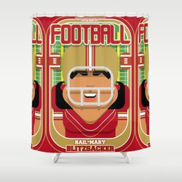 American Football Red and Gold - Hail-Mary Blitzsacker - Indie version Shower Curtain