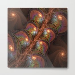 Colorful Fluorescent Abstract Modern Brown Fractal Metal Print