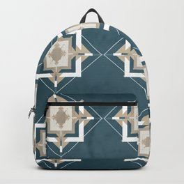 Aqua and Taupe Mosaic Pattern Backpack