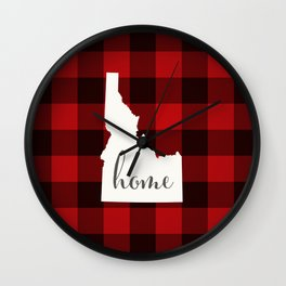 Idaho is Home - Buffalo Check Plaid Wall Clock